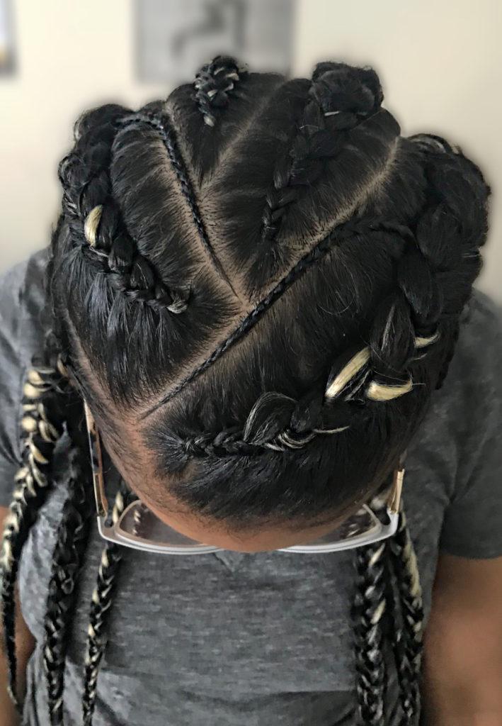 six straight back braids