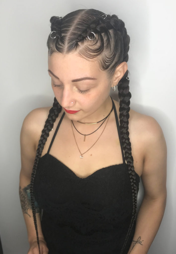 two straight back braids